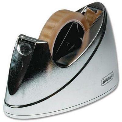 Sellotape Large Chrome Dispenser Non-slip for 25mm x 33m and 66m Rolls Ref 4640