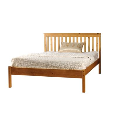 Comfy Living 4ft6 Double Slatted Low end Bed Frame in Caramel with Luxury Damask Mattress