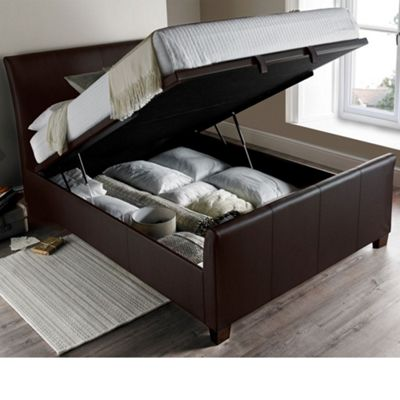 Happy Beds Allendale Faux Leather Ottoman Storage Bed - Brown - 4ft6 Double