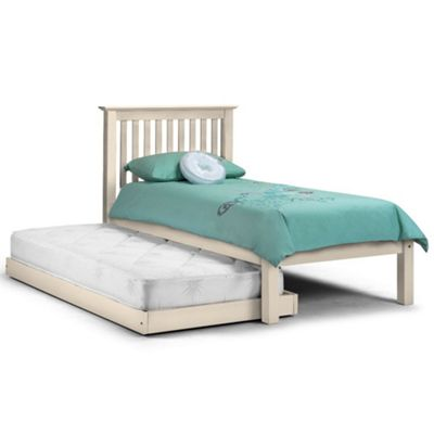 Happy Beds Barcelona Wood Guest Bed and Underbed Trundle with 2 Pocket Spring Mattresses - White - 3ft Single
