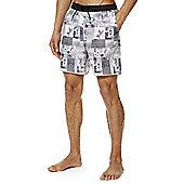 F&F Surf Photographic Print Mid Length Swim Shorts - Grey
