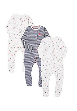 F&F 3 Pack of Woodland Print and Striped Sleepsuits - Navy