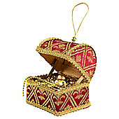 Burgundy & Gold Royal Treasure Chest Christmas Tree Ornament Decoration