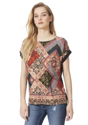 F&F Scarf Print Woven Front T-Shirt Multi 16