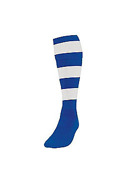 Precision Training Club Weight Stretch Nylon Hooped Football Socks - Royal blue & White