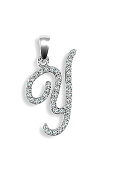 9ct White Gold Diamond Script Initial Identity Pendant - Letter Y
