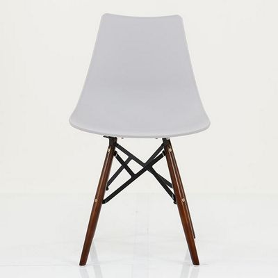 Bergen Light Grey Plastic Dining Chair Walnut Leg