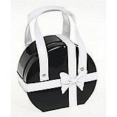 Medium Round Jewellery Box / Bag - Black / White