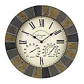 Outside In Stonegate Slate Wall Clock and Thermometer 14in