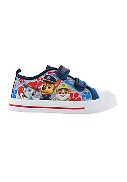Boys Paw Patrol Blue Canvas Soft Touch Trainer Hook and Loop Sizes 5-10 child - Blue