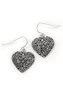Marcasite Burn Silver Tone 'Heart' Drop Earrings - 3cm Length