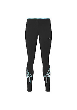 Asics Stripe Womens Ladies Running Exercise Fitness Tights Black - Black