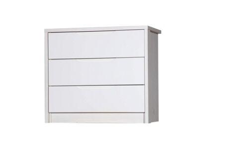 Alto Furniture Avola 3 Drawer Chest - Grey Avola Carcass With Grey Gloss