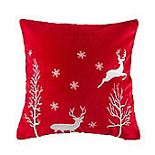 Homescapes Red Christmas Faux Cashmere Cushion with Reindeer Embroidery