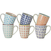 Nicola Spring Patterned Mugs - 360ml (12.7oz) - 6 Individual Designs - Box Of 6