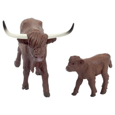 Realistic Highland Cow & Calf Figurine Toys by Animal Planet