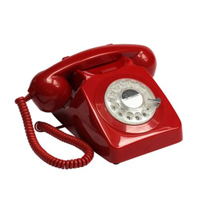 Protelx 746 Retro 1960's Style Rotary Dial Telephone in Red