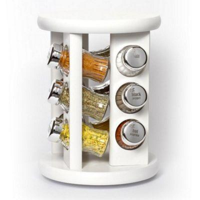 KitchenRax 12-Spice Revolving Spice Rack, White