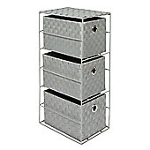 EHC 3 Drawer Polypropylene Woven Storage Tower With Handle Inlets-Grey