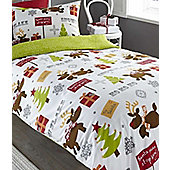 Rudolph Reindeer Christmas Single Bedding in 100% Brushed Cotton