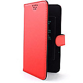 Folio Slider Large Case│Protective Mobile Phone Flip Cover+ Credit Card Slot│Red