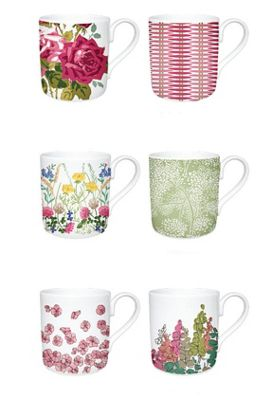Nina Campbell Set of 6 Assorted Mugs, Pink Collection