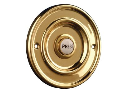Byron 2207/P1 Round Wired Bell Push Flush Fit Brass