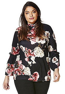 Simply Be Floral Print Flute Sleeve Blouse - Black