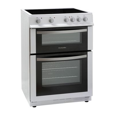 Montpellier MDC600FW 600mm Double Electric Oven Ceramic Hob Fan Oven White