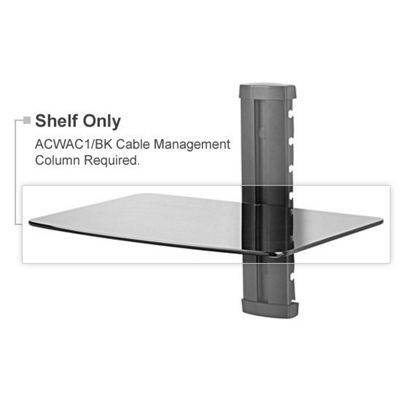 Peerless Black Glass Equipment Support Shelf