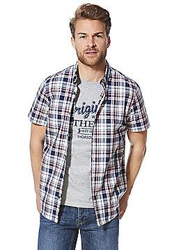 F&F Checked Short Sleeve Shirt and T-Shirt Set - Grey