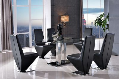 Roma Black Glass and Stainless Steel Frame 150 cm Dining Table with 6 Black Rita Chairs