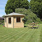 Mercia Garden Products Corner Cabin with Opening Windows - 280 cm H x 330 cm W x 580 cm D