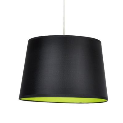 Black Ceiling Pendant Light Shade & Green Inner