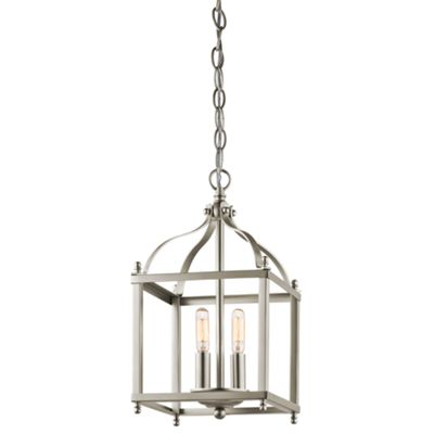 Brushed Nickel Small Pendant - 2 x 60W E14
