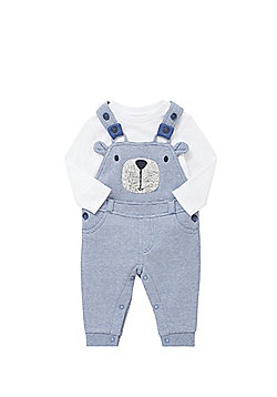 F&F Long Sleeve Bodysuit and Bear Face Dungarees Set - Blue & White
