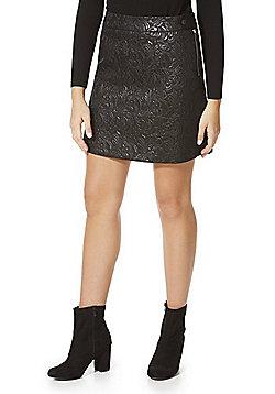 F&F Metallic Floral Jacquard Mini Skirt - Black