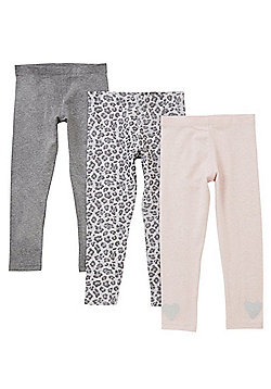 F&F 3 Pack of Plain and Leopard Print Leggings - Multi