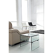 Luna Bent Clear Glass Lamp/Side Table