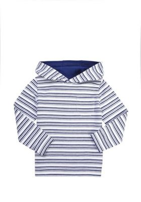 F&F Striped Long Sleeve Hoodie White 12-18 months