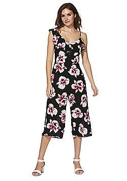 F&F Orchid Print One Shoulder Culotte Jumpsuit - Black/Pink