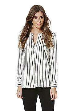 Jacqueline De Yong Striped Y-Neck Shirt - White