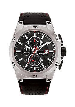 Men's Watch JG7800-21 - Black Leather Strap - Black Dial - Jorg Gray