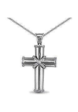 Jewelco London Rhodium Coated Sterling Silver Cubic Zirconia Cross Cross Pendant - 18 inch Chain