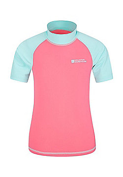 Mountain Warehouse Boys Rash Vest SPF50+ Treatment with Flat Seams for Swimming - Coral