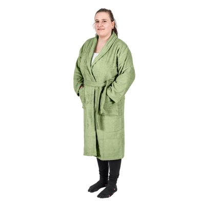 Homescapes Green 100% Egyptian Combed Cotton Adults Bathrobe with Shawl Collar, Small/Medium