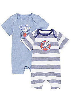 Disney 2 Pack of Mickey Mouse Short Sleeve Rompers - Blue