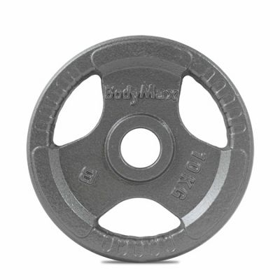 Bodymax Olympic Cast Iron Tri-Grip Weight Disc Plate (Single) - 10kg