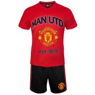 Manchester United FC Mens Short Pyjamas Red Small