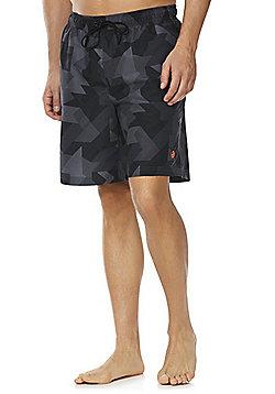 F&F Geometric Camo Print Board Shorts - Grey